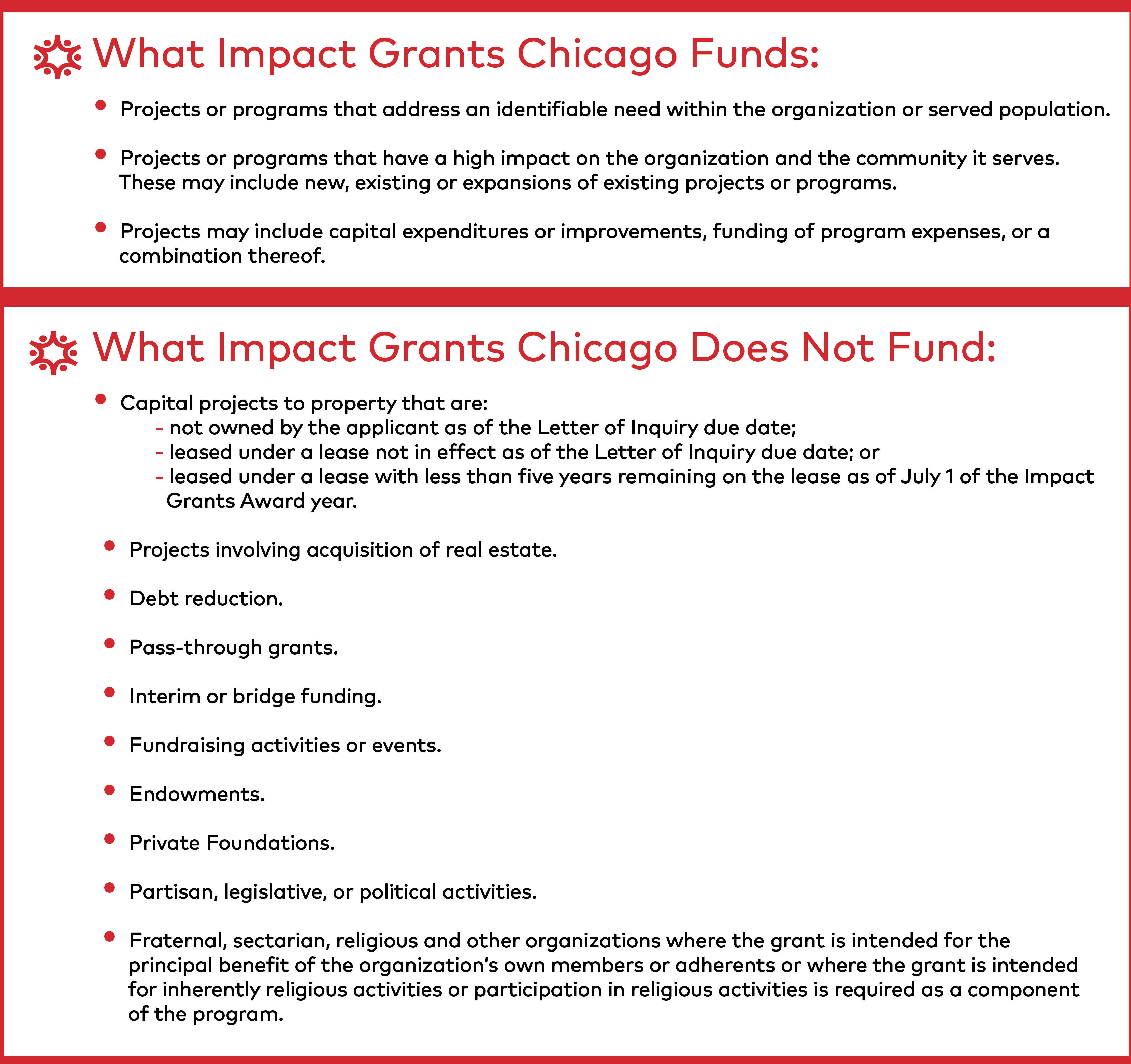 Impact Grants Chicago | Eligibility